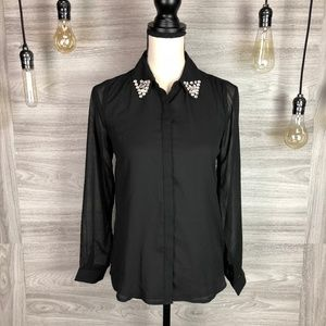 Tops - Black Sheer Blouse With Bedazzled Tips Sz Medium